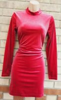 H&M PINK VELVET HIGH NECK LONG SLEEVE BACKLESS BODYCON TUBE WINTER DRESS 14 L