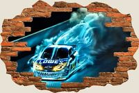 3D Hole in Wall Drift Car Racing View Wall Stickers Film Decal Mural 694