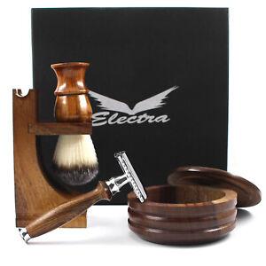 Mens Shaving Set Safety Razor Wooden Bowl Brush With Stand Hair Grooming Kit Set