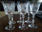"Set 6 fostoria Etched Rose Clear 5 3/8"" Wine Cordials Stem Glasses"