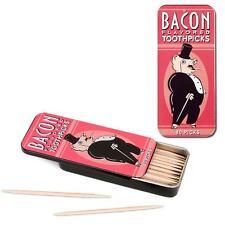 Bacon Flavored Toothpicks Tin Novelty Man Dad Gift Kitsch Joke Meat Lover BBQ