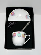 Cupcake bone china cup and saucer gift boxed with teaspoon colourful cupcakes