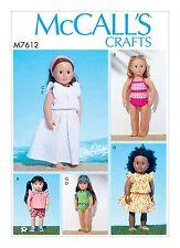 """Mccalls sewing pattern M7612 18"""" poupée, robe maillots de bain, TOP, SHORTS, bandeau, CAP"""