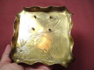 Aesthetic Movement Brass engraved motifs Bird Reeds Dragonfly Inkwell Stand Tray