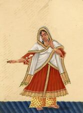 Company School 19th siècle Indian Mica peinture gouache Dancing Girl en sari