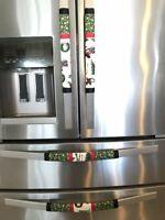Refrigerator Door Handle Covers Set of 2 Sparkly Santa Theme 13LX5W