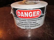 Danger Lead Containing Hazardous Waste Labels Rolled