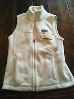 Patagonia Women's Re-Tool Fleece Vest Small White Full Zip Sleeveless Jacket EUC