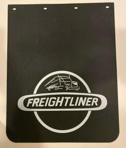 "Freightliner Trucks 24"" x 25"" Mud Flaps Pair Black & Silver Poly"