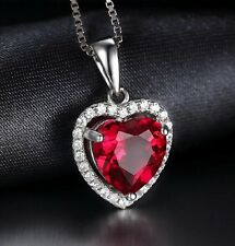 White gold finish Heart design ruby & created diamond necklace