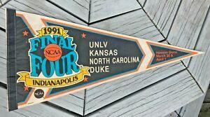 """Vintage 29"""" 1991 NCAA Final Four Pennant Felt Bright Color UNLV,Kansas,NC,Duke"""