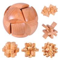 Wooden Puzzle Kongming Luban Lock Brain Teaser Kids Adult Intelligent Toy Gift