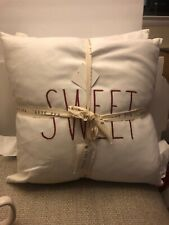 Rae Dunn Set Of 2 White Sweet Hearts Valentines Day Pillows NEW