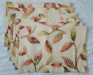 6 Croscill Leaves Placemats Orange Green Brown Abstract Leaf 19x13 Sheen