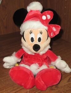 """Gund Disney Minnie Mouse Christmas Red Santa Suit 10"""" Super Soft Used Stuffed"""