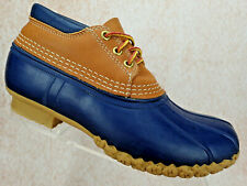 LL Bean Boots Short Brown Leather Blue Rubber Rain Duck Hunting Shoe Sz 7 M