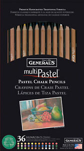 General Pencil MultiPastel (R) Chalk Pencils 36/Pkg-Assorted Colors, 4400-36A