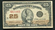 "1923 25 TWENTY FIVE CENTS DOMINION OF CANADA ""SHINPLASTER"" NOTE (C)"