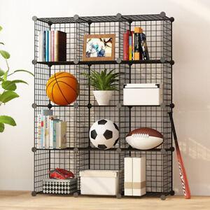 16 Cube Wire Mesh DIY Bookcase Shelving Unit Display Storage Shelf Home Decor UK