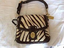 Coach Zebra  Print Genuine Calfhair Leather Large Hobo bag Rare orig priced $625