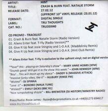(CU37) Hint, Crash & Burn ft Natalie Storm - 2012 DJ CD