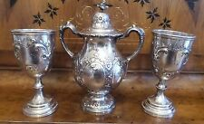 THREE PIECE ANTIQUE RARE WM. GALE SON & CO.  COIN SILVER URN WITH LID  2 GOBLETS