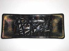 Vintage Studio Art Glass IRIDESCENT Pin Tray Trinket Dish Artist Signed