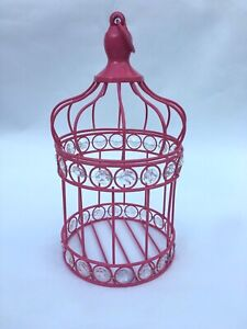 Wedding Decorative Bird Cage / Candle Holder 10'' Pink Metal table decoration