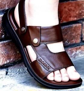Chic Mens Leather Summer Slip On Slingbacks Sports Shoes Flats Open Toe Sandals