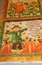 Scarecrow Thanksgiving 100% Cotton Fabric panel Grateful Harvest lg pillow panel