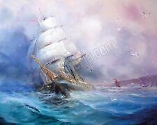 Quadro legno 50 x 40 cm stampa in alta qualità fantasy veliero mare burrasca