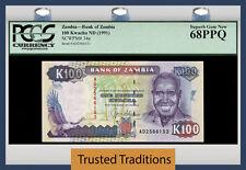 "TT PK 34a 1991 ZAMBIA 100 KWACHA ""PRESIDENT K KAUNDA"" PCGS 68 PPQ SUPERB GEM NEW"
