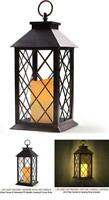 "14"" Tall Vintage Candle Lantern with LED Flickering Flameless Candle"