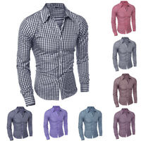 Men's Long Sleeve Button Down T-shirt Tops Slim Fit Gingham Casual Dress Shirts