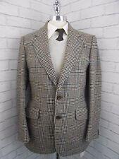 "Vintage 1970s Men's Brown Blue Classic Checked Tweed Retro Blazer Jacket 37/38"""