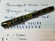 Beautiful Vintage Green and Bronze Fountain Pen with Waterman's Flex Nib