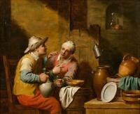 """perfect oil painting handpainted on canvas """"Drinkers in a tavern""""@N15851"""