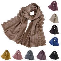 Women Muslim Hijab Plain Beads Long Scarf Shawl Wrap Islamic Scarves Head Covers