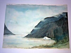 Vintage Large Original Landscape Watercolor Painting Cabin Mountains Lake in VT