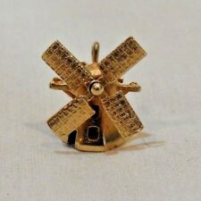 Vintage 14K Yellow Gold Articulated Working Windmill Charm