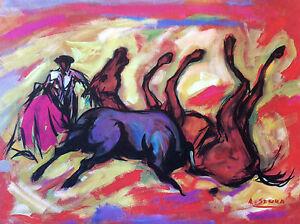 Antoine Serra (1908-1995) Photoengraving Bullfighting Toreador Horse