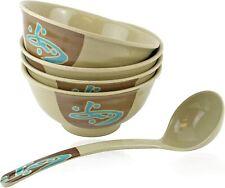 Set of 4 Quality Japanese Noodle Soup Ramen Bowl with 1 Spoons Soup Ladle