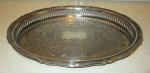 """Vintage Oneida Chippendale Oval Gallery Tray 14 5/8"""""""