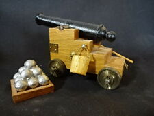 Collectible Wood Cast Iron Metal Military Cannon With Wheels And Accessories