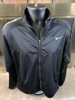 Vintage Nike Air Track Warmup Jacket Coat Mens Large Black Volt Stripe Full Zip