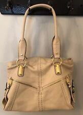 B Makowsky Women's Ivory Leather Satchel Handbag Large L
