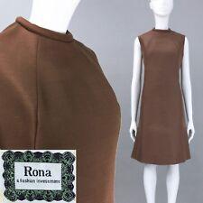 L Vintage 1960s Brown Sharkskin Shift Mini Dress Simple Mod Space Age MCM 60s