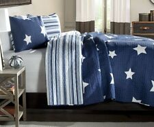 BLUE & WHITE STAR Full Queen QUILT SET : COTTON STRIPE COUNTRY CABIN BOYS BED