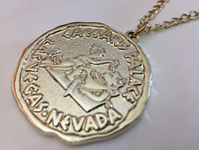 New listing Caesars Palace Las Vegas Nevada Logo Medallion Pendant Necklace gold tone chain