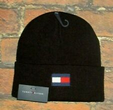 MENS TOMMY HILFIGER  ICONIC LOGO BLACK BEANIE HAT ONE SIZE